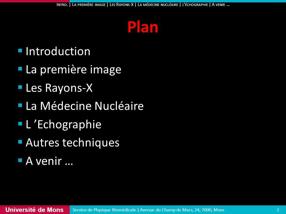 Plan Introduction La première image Les Rayons-X La Médecine Nucléaire