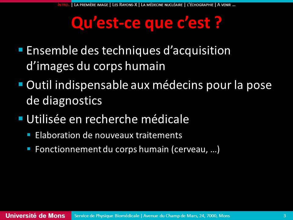 Intro. | La première image | Les Rayons-X | La médecine nucléaire | l'échographie | A venir …