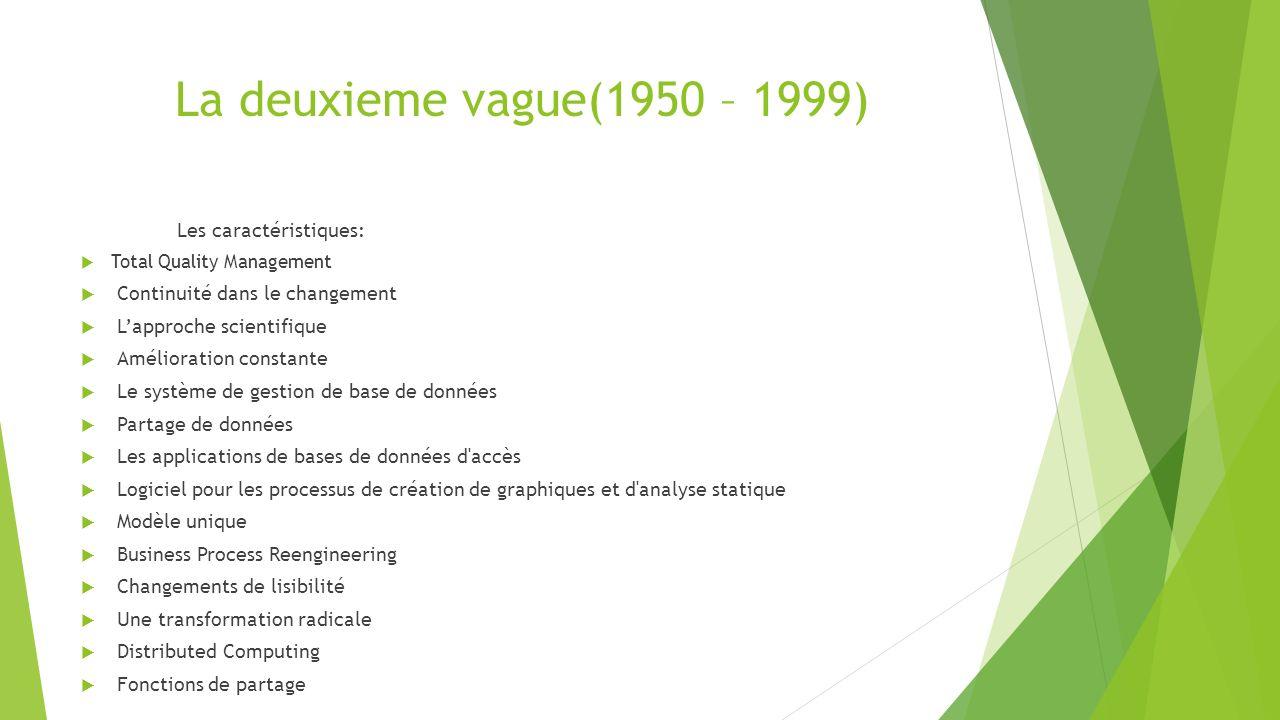 La deuxieme vague(1950 – 1999) Les caractéristiques: