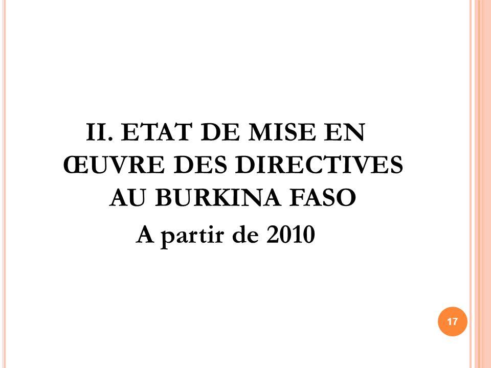 II. ETAT DE MISE EN ŒUVRE DES DIRECTIVES AU BURKINA FASO