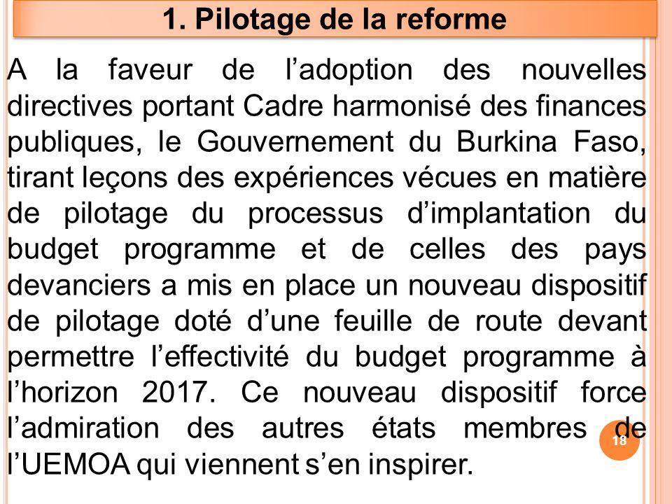 1. Pilotage de la reforme