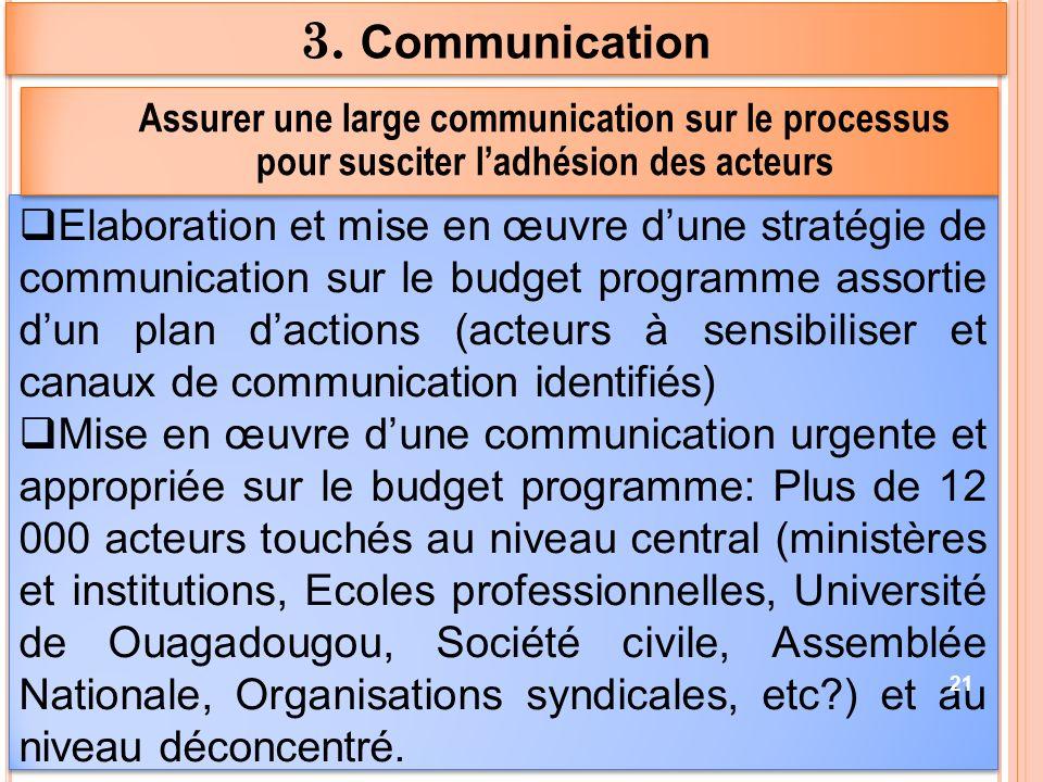 3. Communication 31/03/2017. Assurer une large communication sur le processus pour susciter l'adhésion des acteurs.