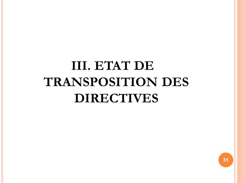 III. ETAT DE TRANSPOSITION DES DIRECTIVES