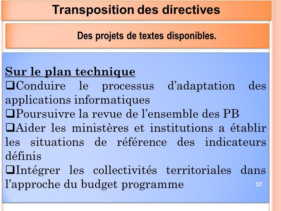 Transposition des directives Des projets de textes disponibles.