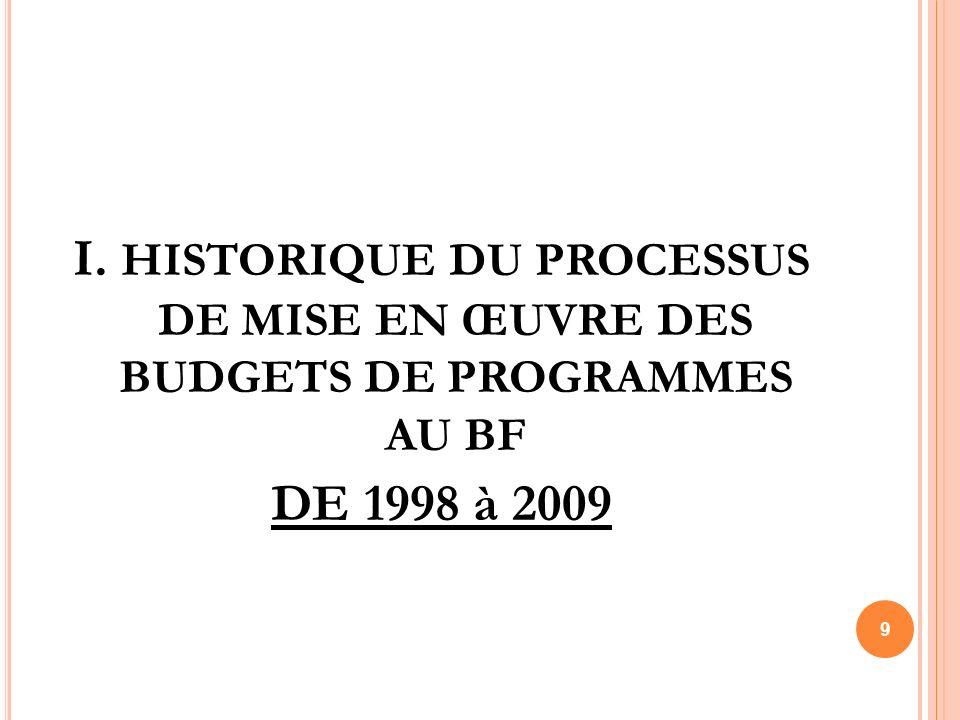 I. HISTORIQUE DU PROCESSUS DE MISE EN ŒUVRE DES BUDGETS DE PROGRAMMES AU BF