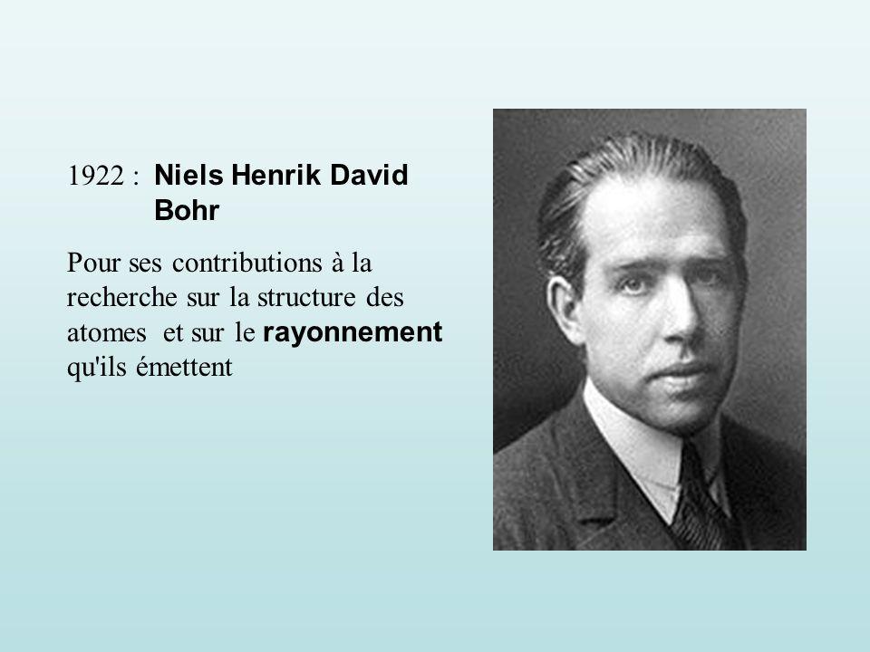 1922 : Niels Henrik David Bohr