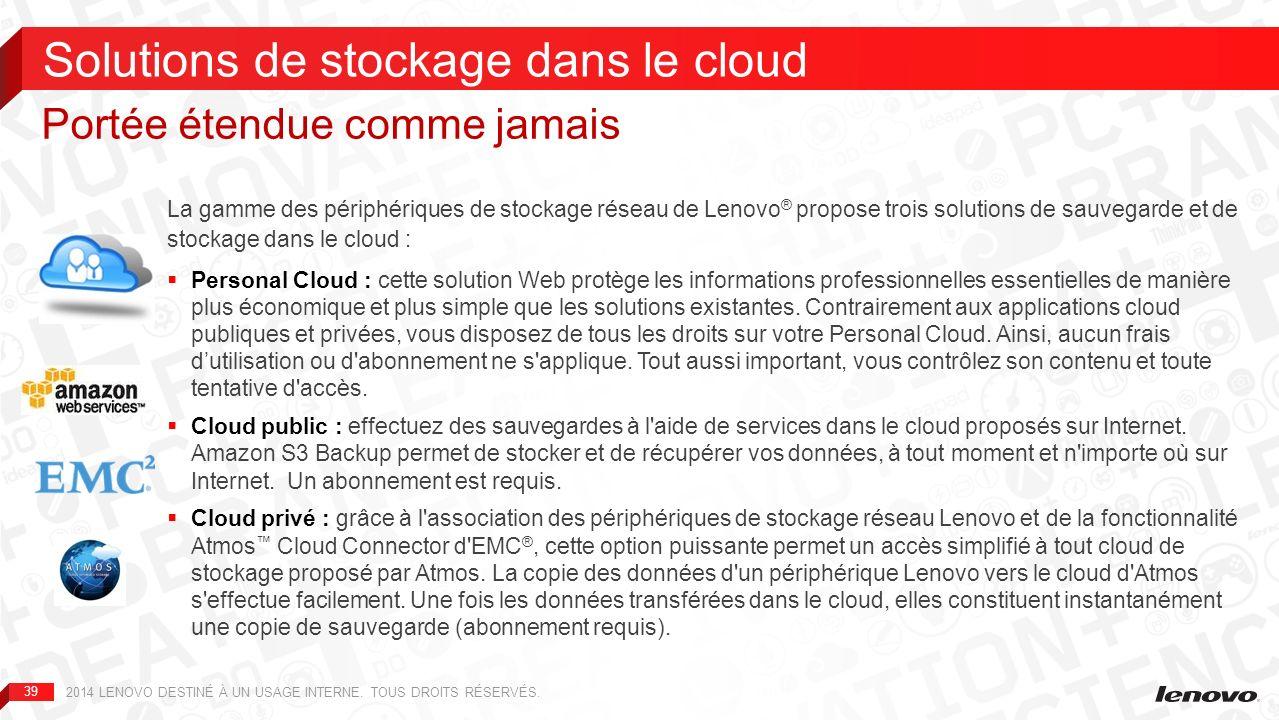 Solutions de stockage dans le cloud