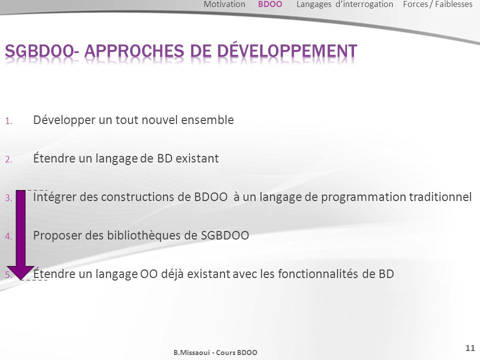 SGBDOO- Approches de développement