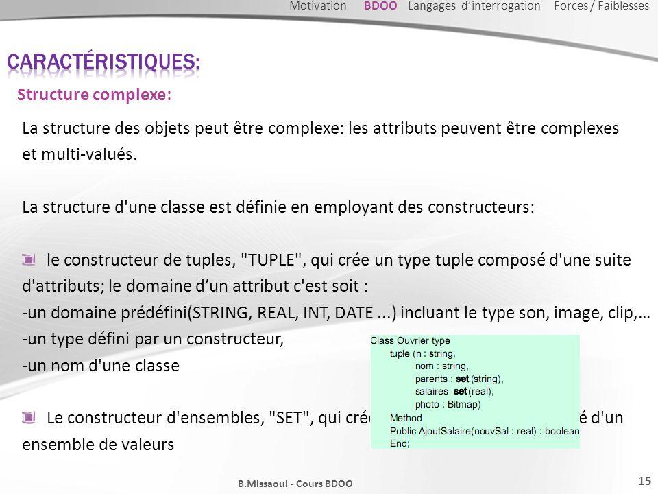 Caractéristiques: Structure complexe: