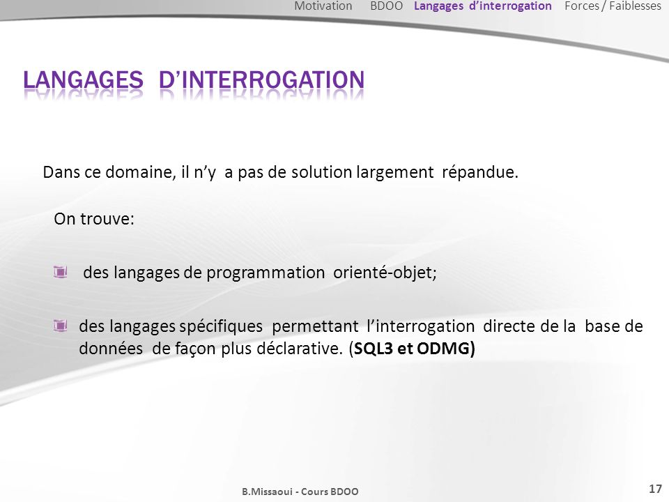 Langages d'interrogation