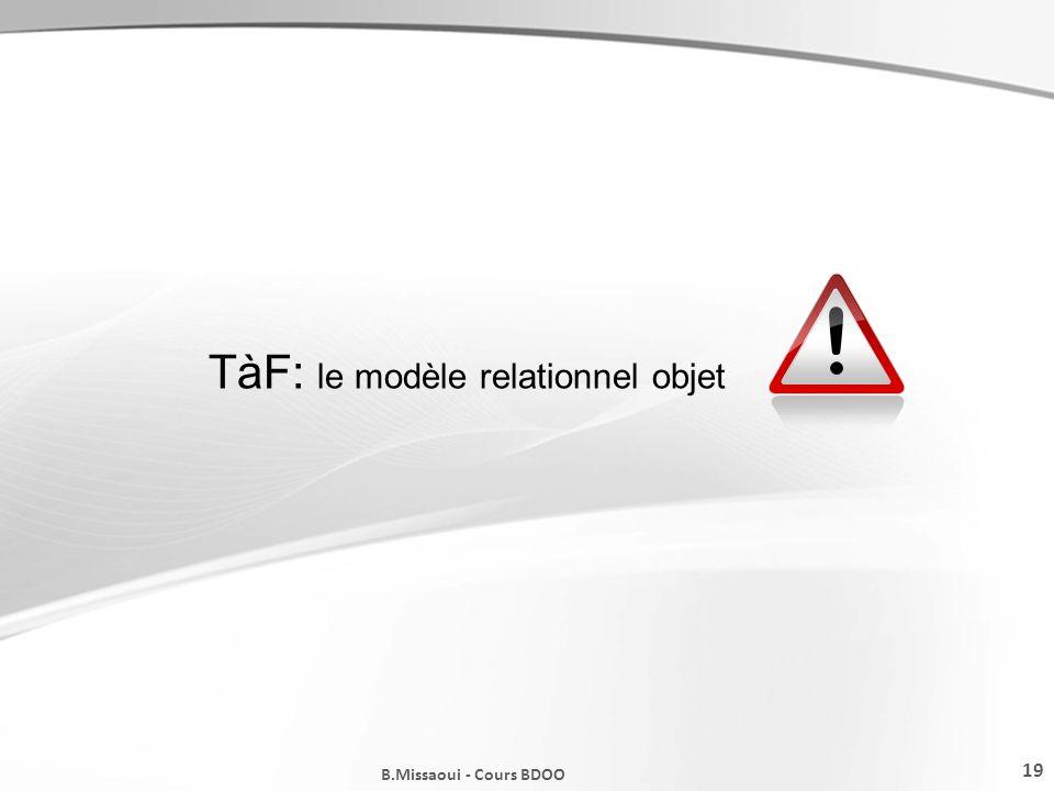 TàF: le modèle relationnel objet