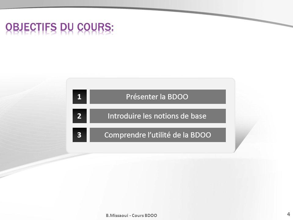 Objectifs du cours: 1 Présenter la BDOO 2