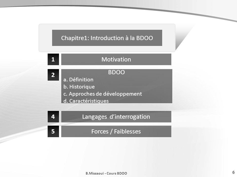 Chapitre1: Introduction à la BDOO