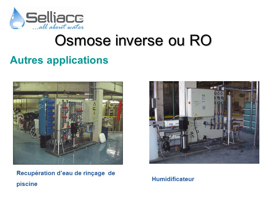 Osmose inverse ou RO Autres applications