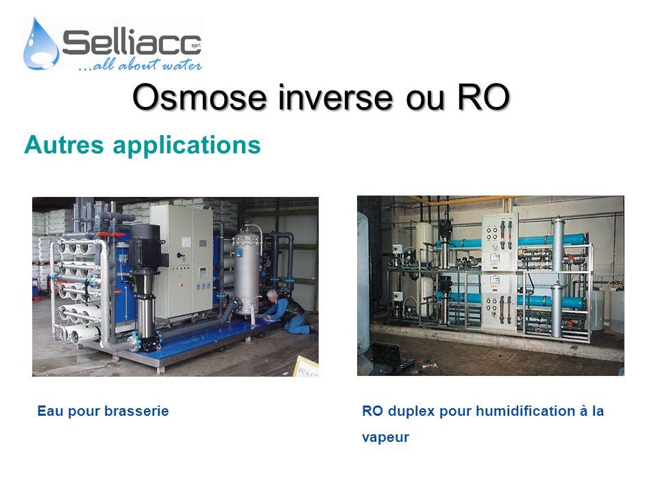 Osmose inverse ou RO Autres applications Eau pour brasserie