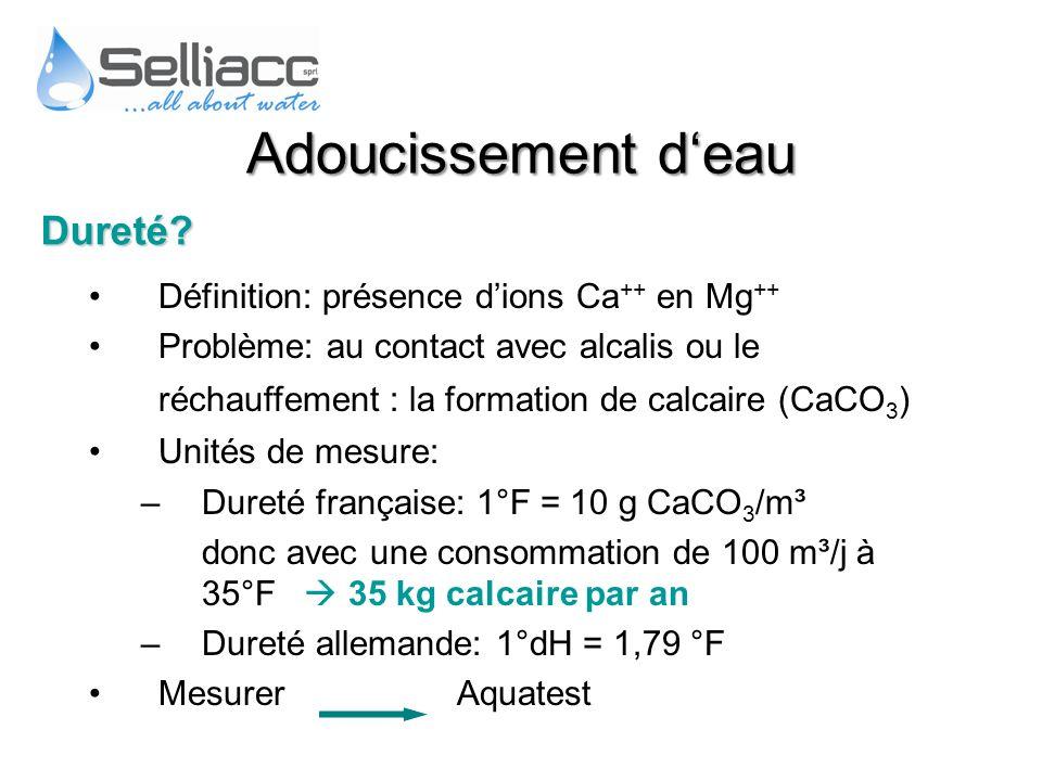Adoucissement d'eau Dureté Définition: présence d'ions Ca++ en Mg++
