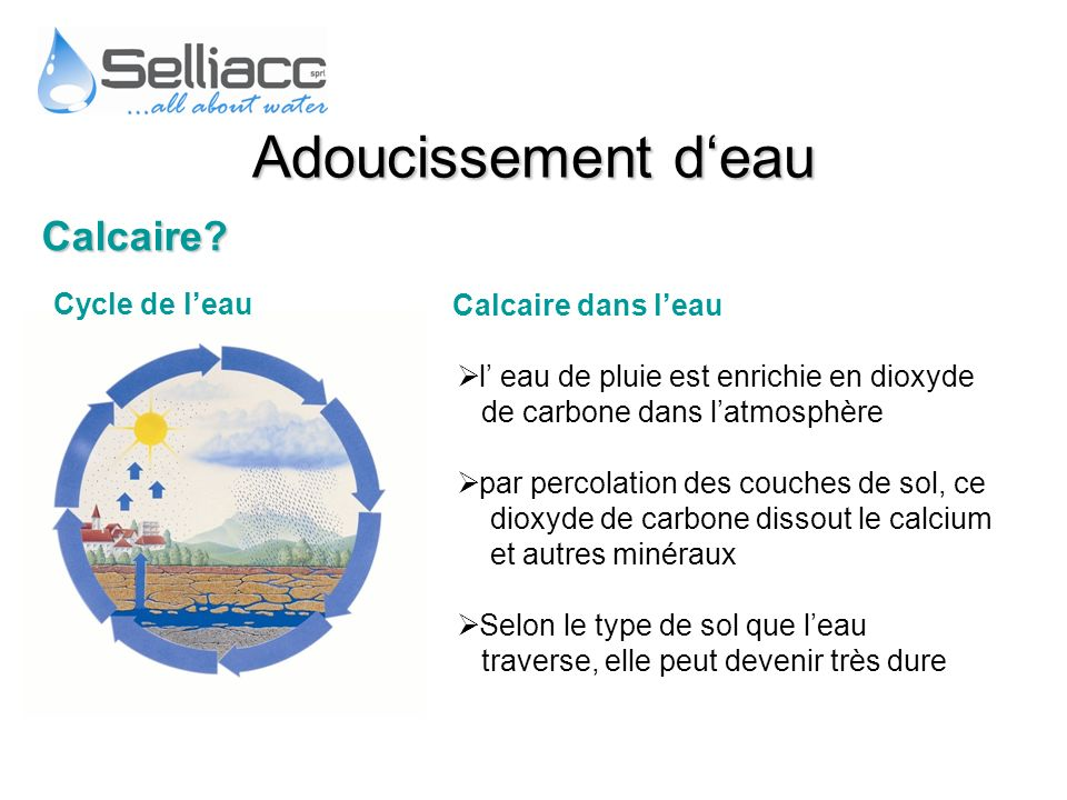 Adoucissement d'eau Calcaire Cycle de l'eau Calcaire dans l'eau