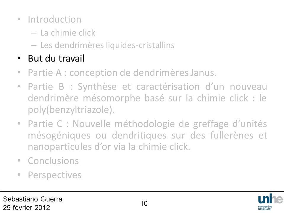 Partie A : conception de dendrimères Janus.
