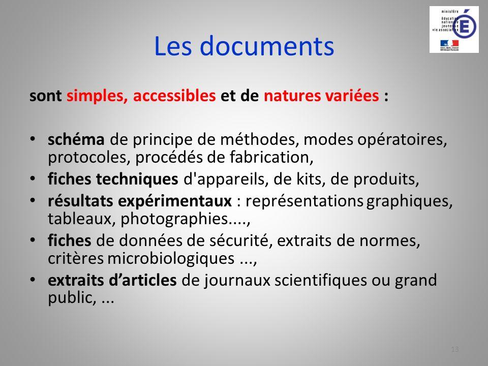 Les documents sont simples, accessibles et de natures variées :