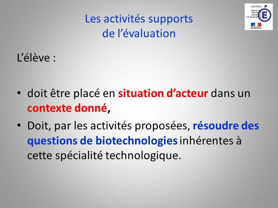 Les activités supports de l'évaluation
