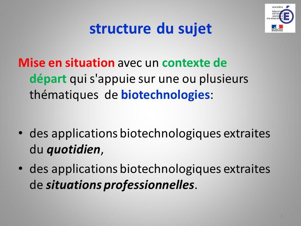 structure du sujet Mise en situation avec un contexte de départ qui s appuie sur une ou plusieurs thématiques de biotechnologies: