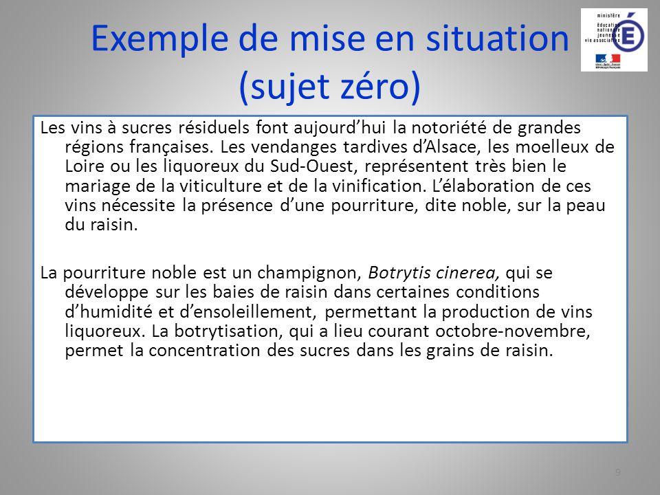 Exemple de mise en situation (sujet zéro)