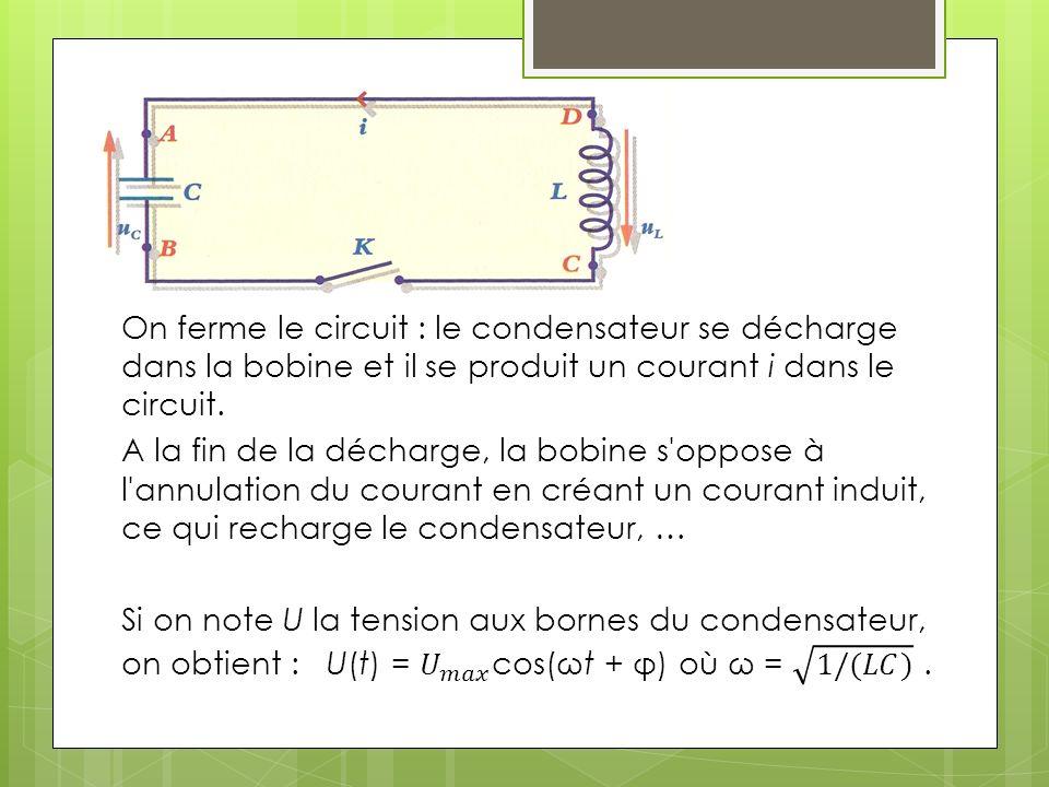 On ferme le circuit : le condensateur se décharge dans la bobine et il se produit un courant i dans le circuit.
