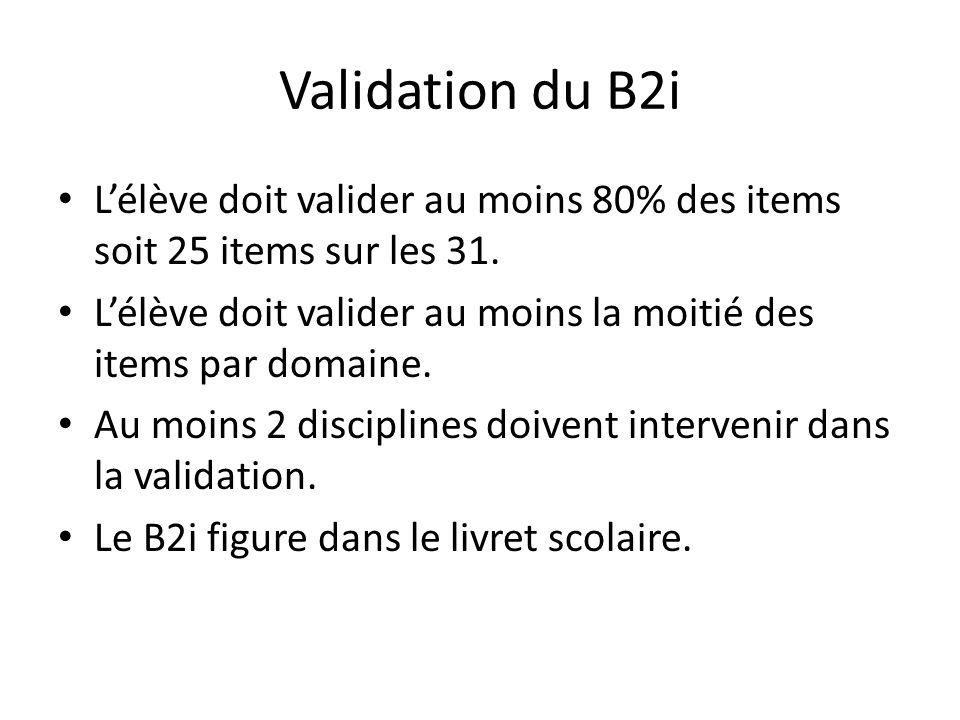 Validation du B2i L'élève doit valider au moins 80% des items soit 25 items sur les 31.