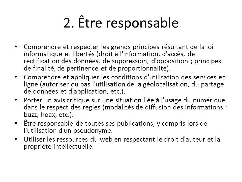 2. Être responsable
