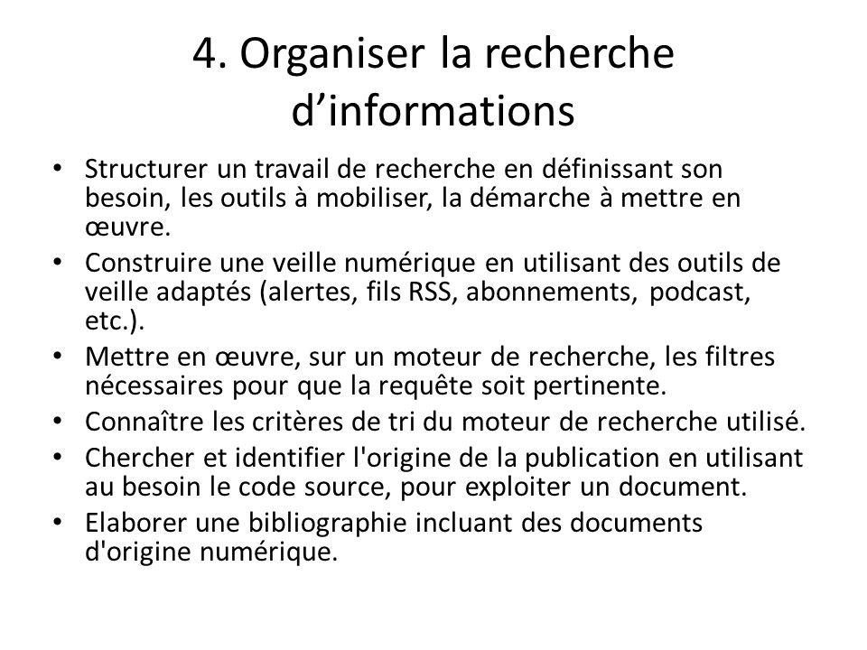 4. Organiser la recherche d'informations