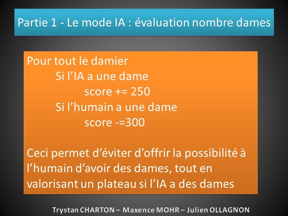 Partie 1 - Le mode IA : évaluation nombre dames