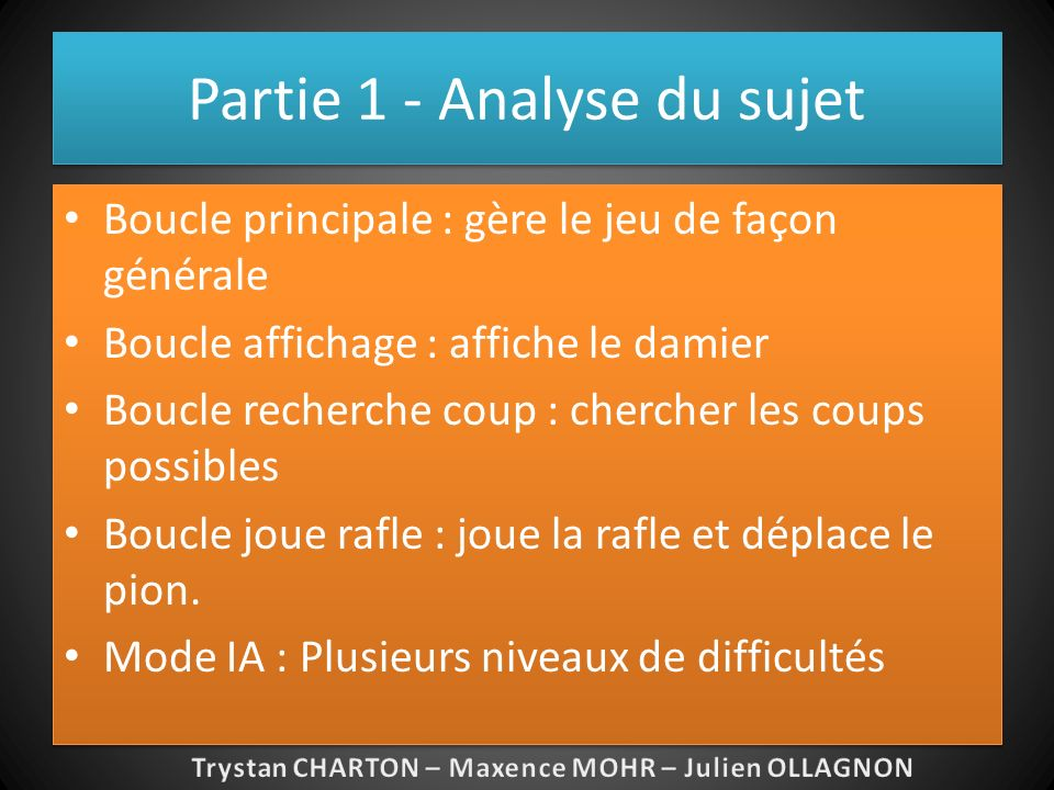 Partie 1 - Analyse du sujet