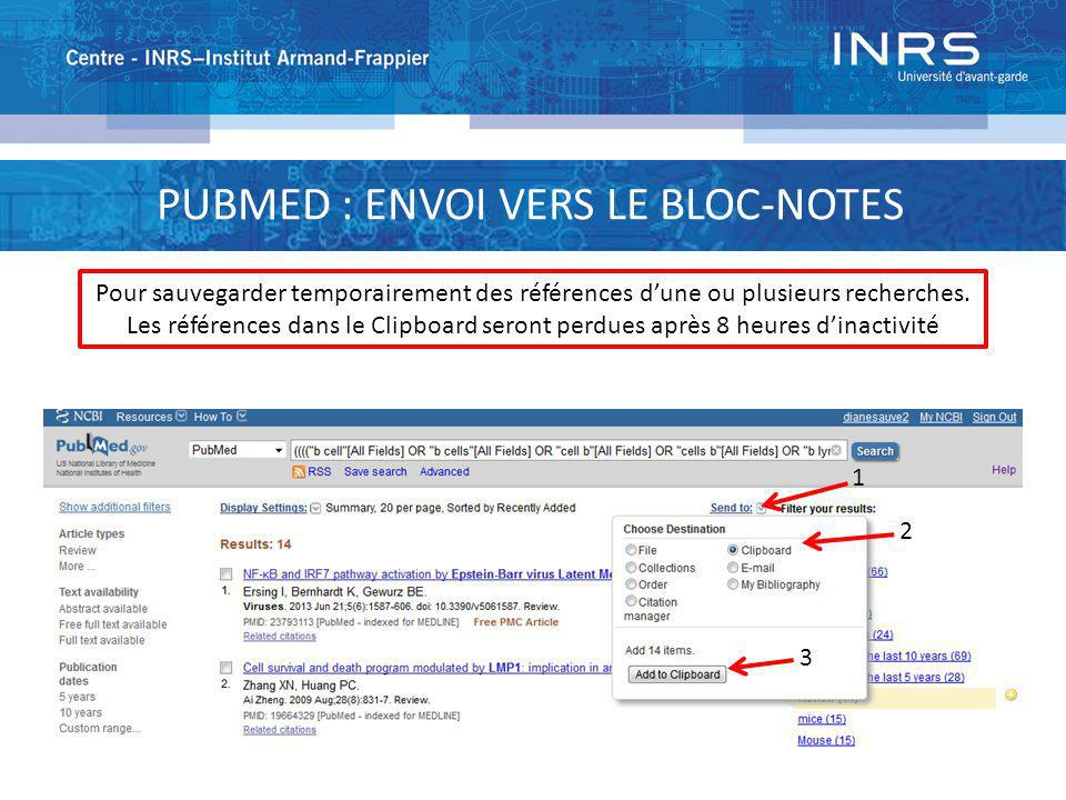 PUBMED : ENVOI VERS LE BLOC-NOTES