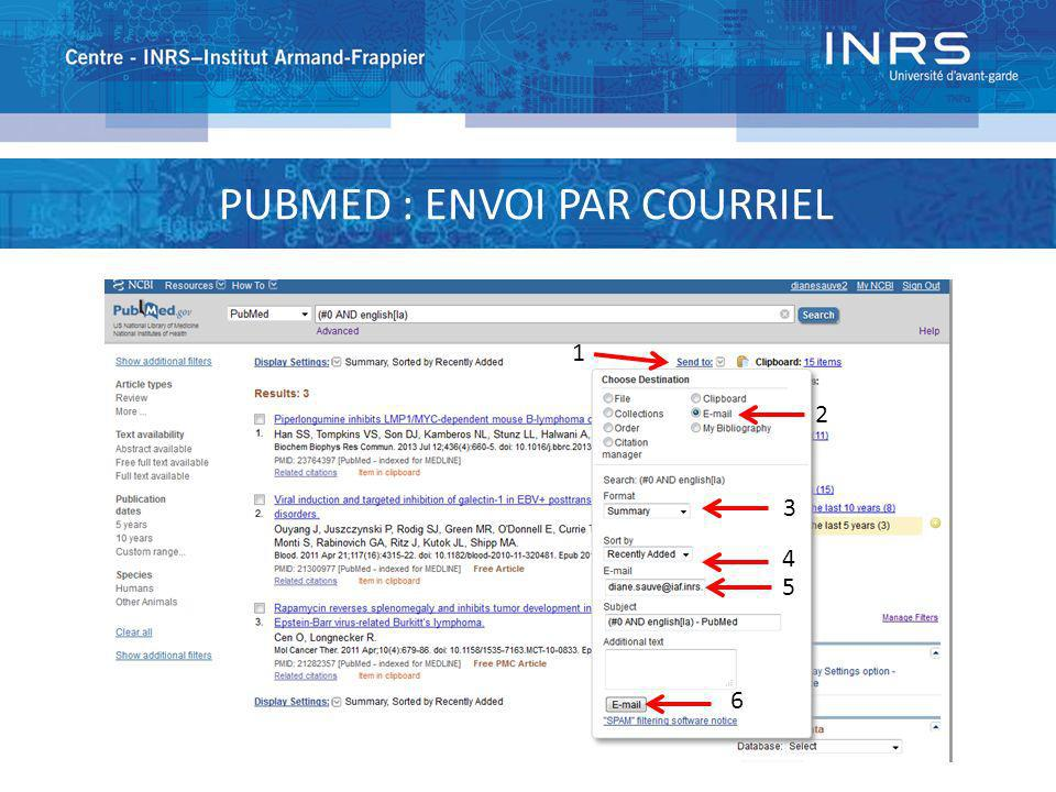 PUBMED : ENVOI PAR COURRIEL