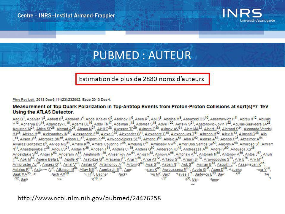 PUBMED : AUTEUR Estimation de plus de 2880 noms d'auteurs