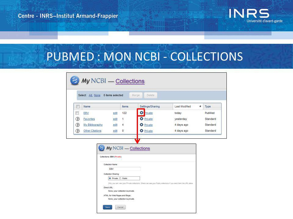 PUBMED : MON NCBI - COLLECTIONS