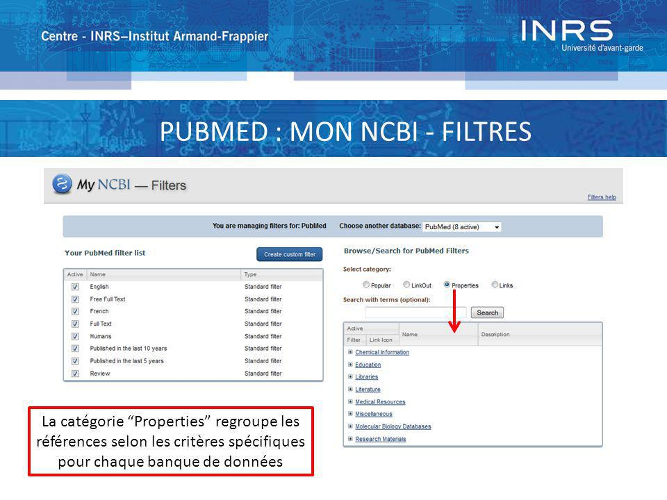 PUBMED : MON NCBI - FILTRES