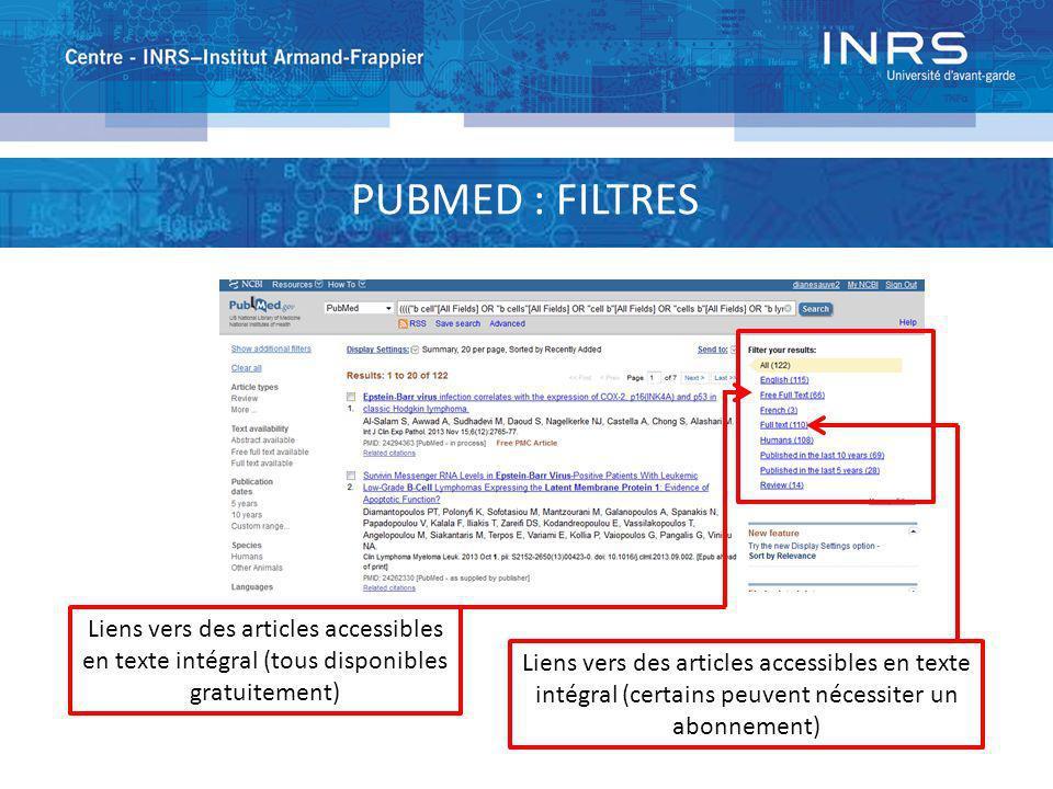 PUBMED : FILTRES Liens vers des articles accessibles en texte intégral (tous disponibles gratuitement)