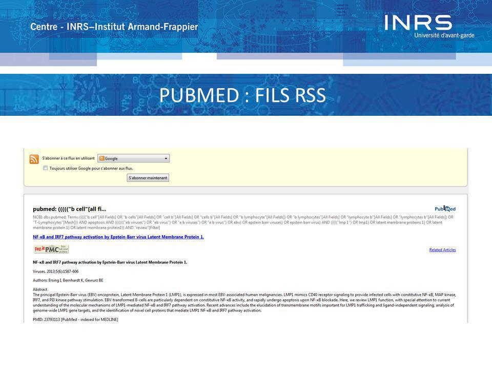 PUBMED : FILS RSS