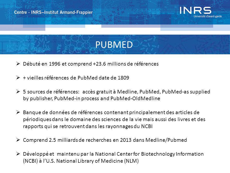PUBMED Débuté en 1996 et comprend +23.6 millions de références