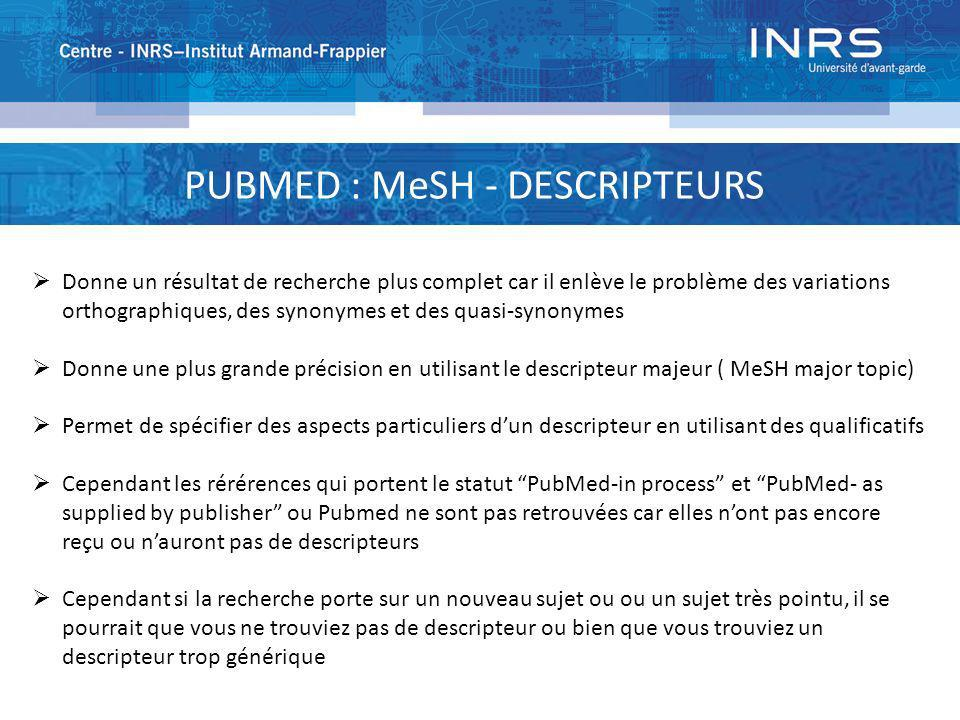 PUBMED : MeSH - DESCRIPTEURS