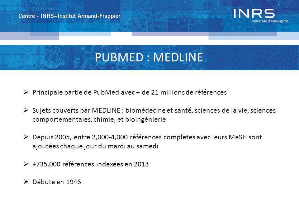 PUBMED : MEDLINE Principale partie de PubMed avec + de 21 millions de références.