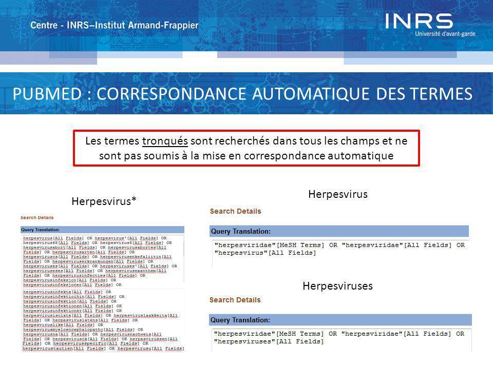 PUBMED : CORRESPONDANCE AUTOMATIQUE DES TERMES
