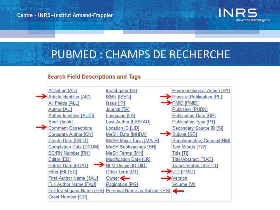 PUBMED : CHAMPS DE RECHERCHE