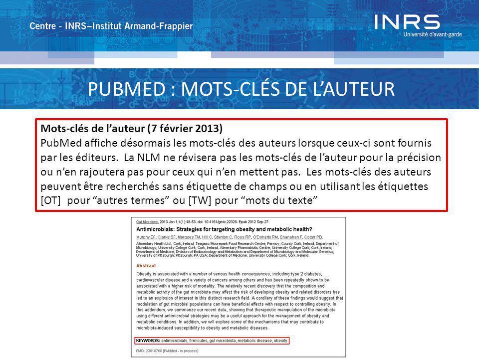 PUBMED : MOTS-CLÉS DE L'AUTEUR
