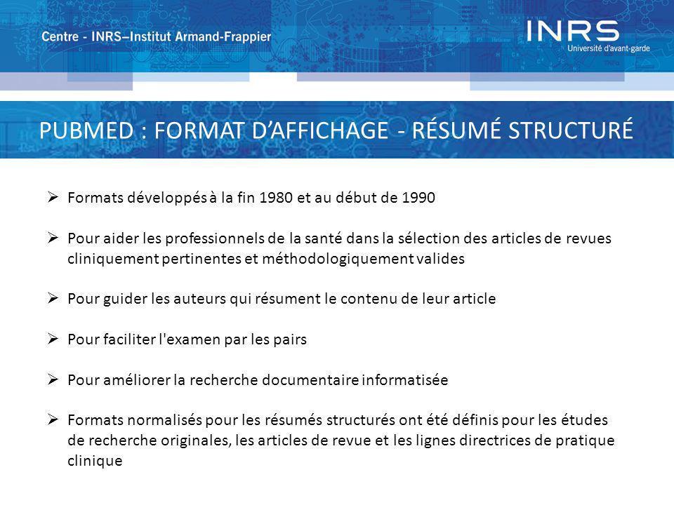 PUBMED : FORMAT D'AFFICHAGE - RÉSUMÉ STRUCTURÉ