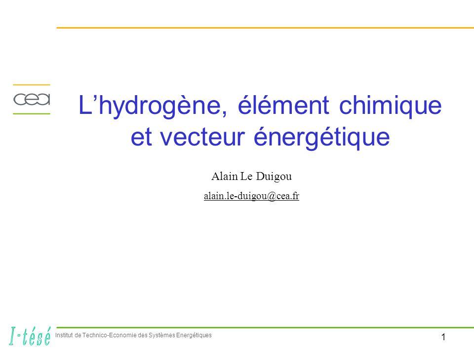L'hydrogène, élément chimique et vecteur énergétique