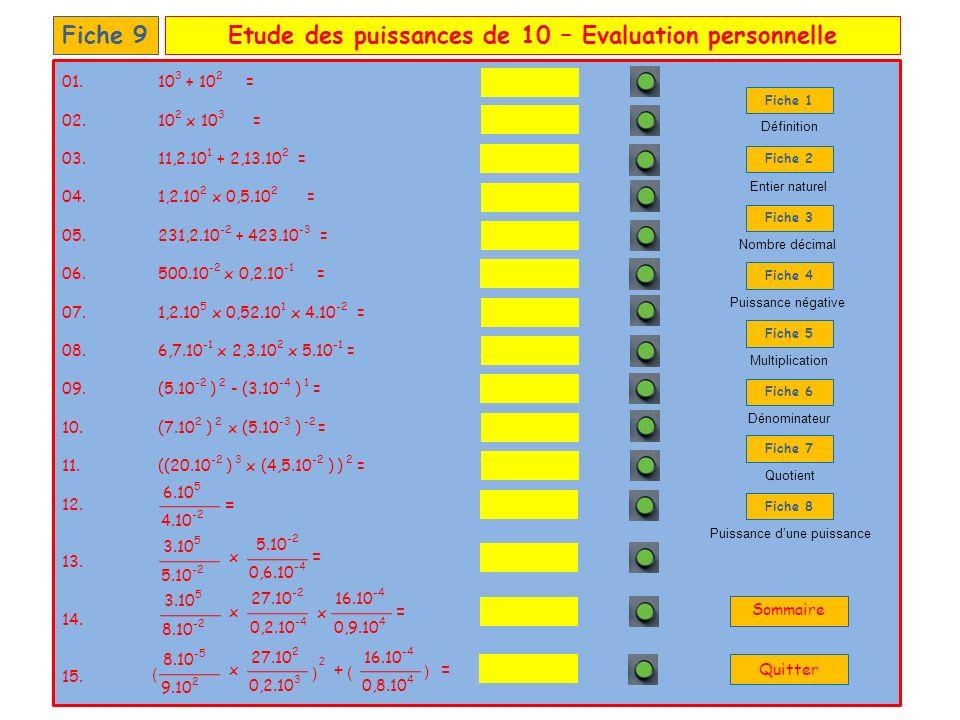 Etude des puissances de 10 – Evaluation personnelle