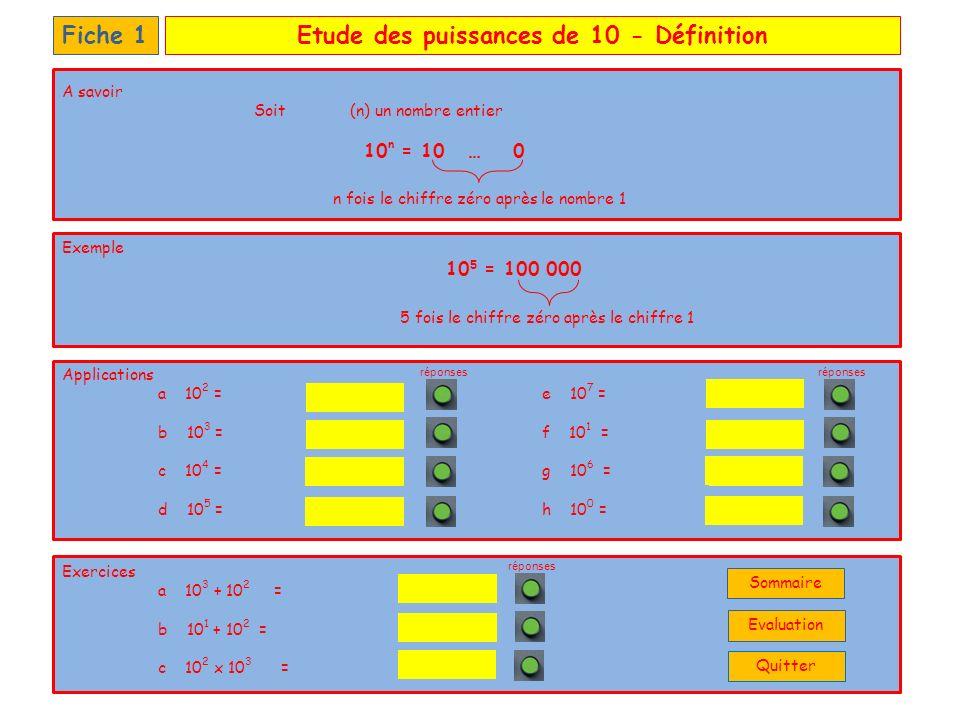 Etude des puissances de 10 - Définition