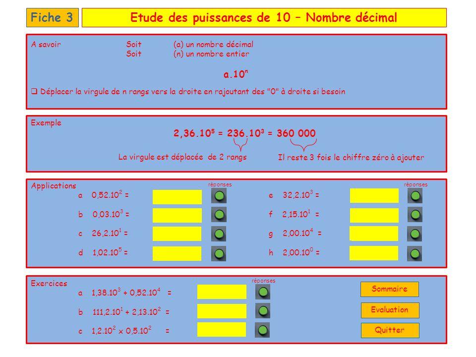 Etude des puissances de 10 – Nombre décimal